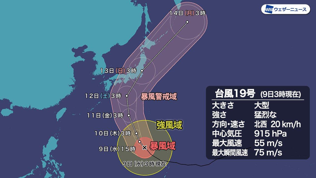 台風19号 日本列島 スッポリ入ってない?